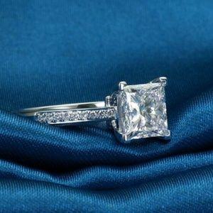 Handmade Princess Cut Engagement Ring - Size 4.5